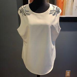 Boston Proper ivory crystal embellished top, large
